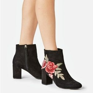 Black Embroidered Jacinta Faux Suede Bootie